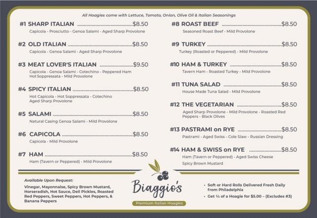 Biaggio's Hoagie Menu